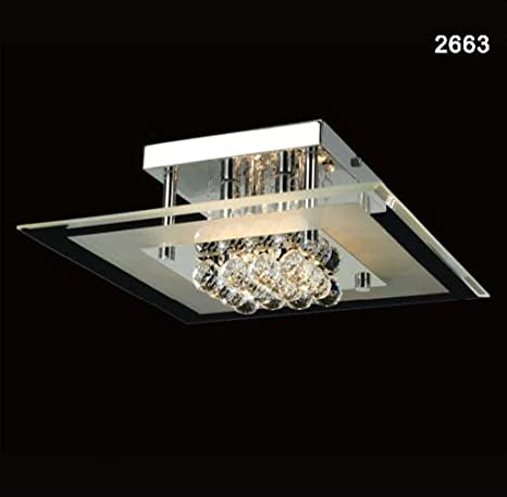 Plafón de techo cuadrado 4 luces, colección 2663. Crystal de ...