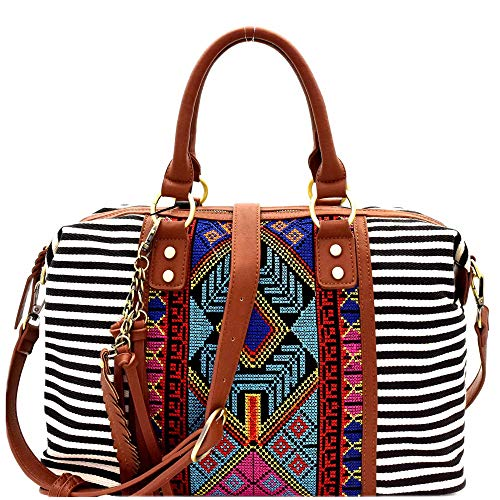 Print Satchel - Aztec & Stripe Print Canvas Boston Satchel Bag