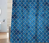 Fish Shower Curtain Sunlit Designer Fish Scale Mermaid Tail Geometric Shower Curtain Set. PVC Free, Non-toxic and Odorless Water Repellent Fabric. Ocean Theme Fairy Tale Bathroom Décor. Blue