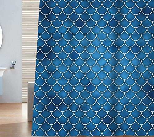 Ocean Fish Fabric - Sunlit Designer Fish Scale Mermaid Tail Geometric Shower Curtain Set. PVC Free, Non-toxic and Odorless Water Repellent Fabric. Ocean Theme Fairy Tale Bathroom Décor. Blue