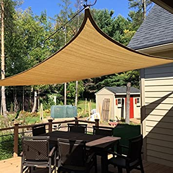 Peaktop 98 UV Block 26x20Ft Rectangle Sun Shade Sail Canopy Sun Shelter Perfect for Outdoor Patio with Free Hardware Kit Sand