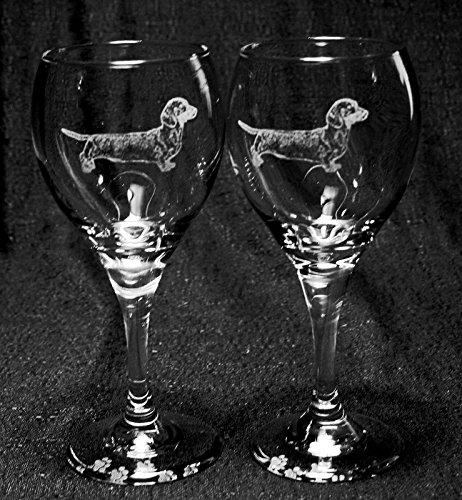 Muddy Creek Reflection Smooth Coat Dachshund Dog Laser Etched Wine Glass Set (2, TDW)