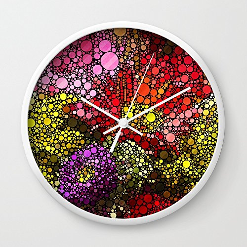 Society6 Spot Mosaic (flowers Pink Purple Red) Wall Clock White