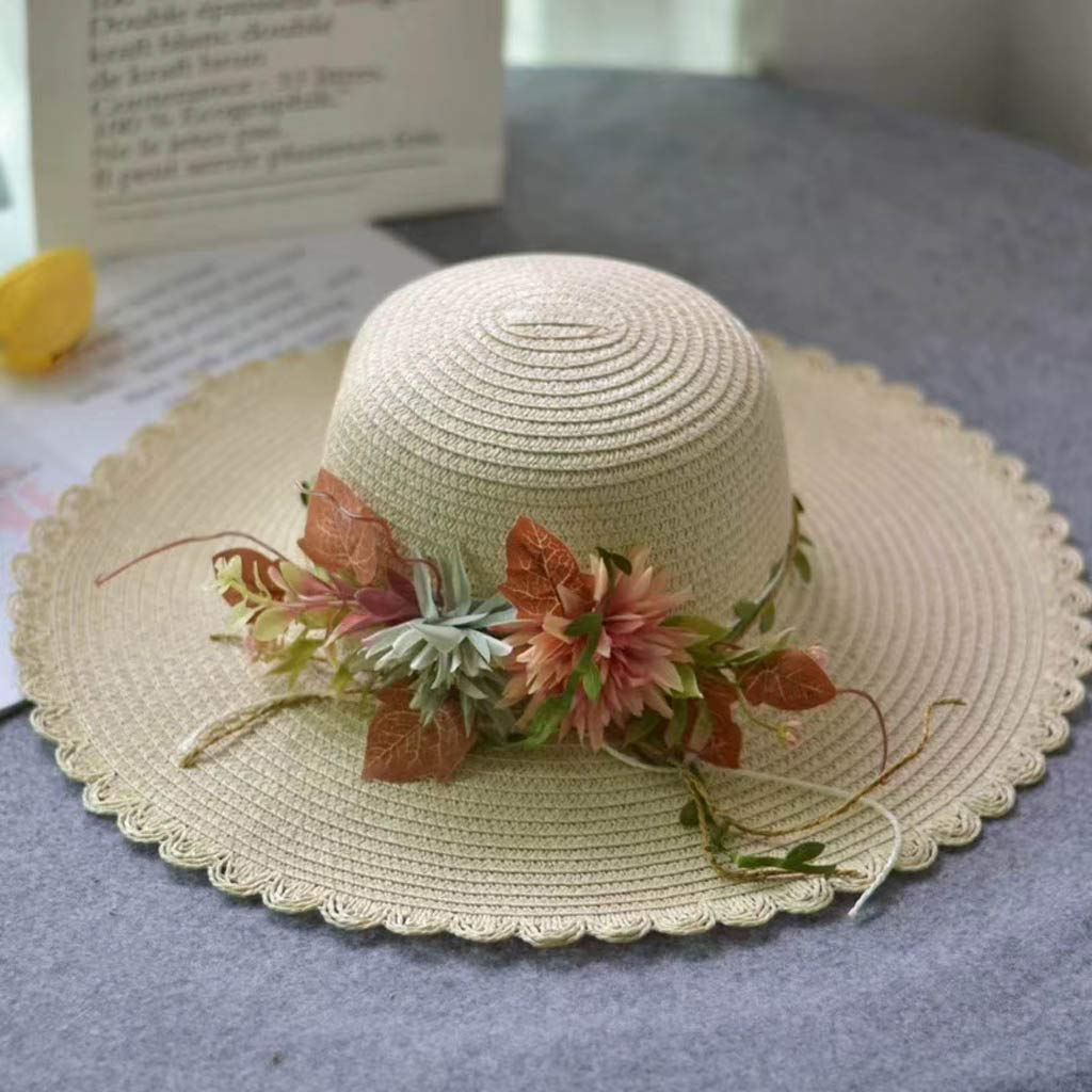Women Wide Brim Straw Panama Roll up Hat Fedora Beach Sun Straw hat UPF66+ /Casual Holiday Fisherman's Cap