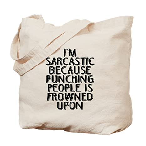 3441a48082 CafePress – Sarcasm Vs Punching – Natural Canvas Tote Bag