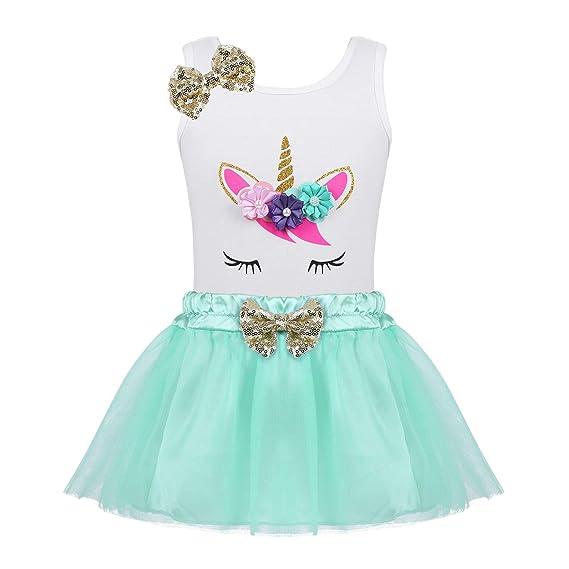 iiniim Vestido Unicornio Lentejuelas para Niña Bebé Conjunto Princesa Top Algodón + Falda Tutú Tul Disfraz Infantil Princesa Fiesta Ceremonia Cosplay ...