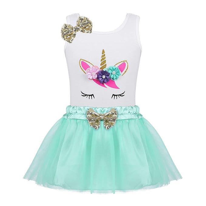 iiniim Vestido Niña Bebé Unicornio Princesa Conjunto de Top Algodón + Falda Tutú Tul Disfraz Infantil