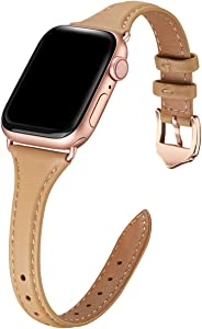 WFEAGL Leather Bands Compatible with Apple Watch 38mm 40mm 42mm 44mm, Top Grain Leather Band Slim & Thin Wristband for iWatch SE & Series 6/5/4/3/2/1 (Camel Band+Rose Gold Adapter, 38mm 40mm)