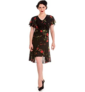 259e314a53f Hell Bunny 20s 40s Black Flapper Cocktail Party Dress Lily Floral Black