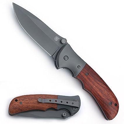 Amazon.com: Cuchillo plegable de caza, cuchillo de bolsillo ...