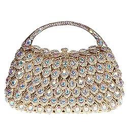 Fawziya Clutch Purse With Handle Crystal Rhinestone Clutch Evening Bag-Gold