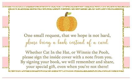 Halloween Themed Baby Shower Games.Amazon Com Bring A Book Cards Sparkling Pumpkin Baby Shower Autumn