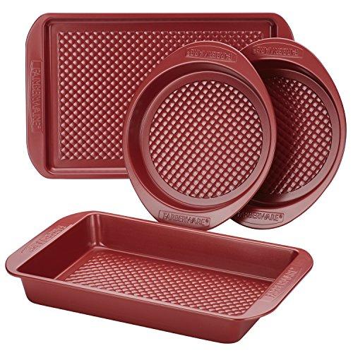 Farberware Colorvive Nonstick Bakeware Set, 4-Piece, Red