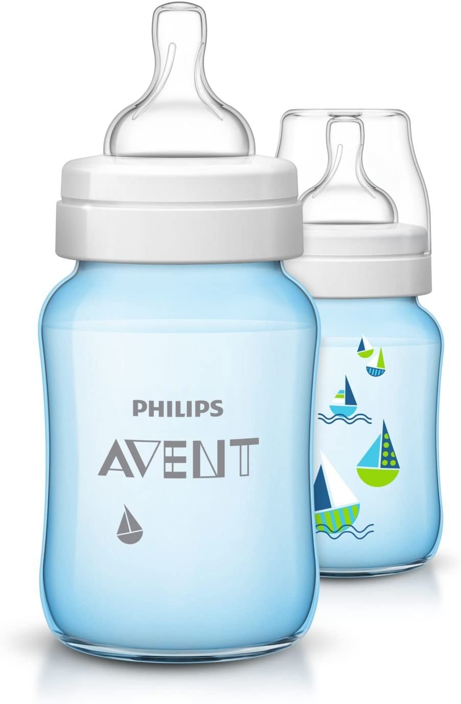 bleu SCF035//27 Philips Avent Lot de 2/ biberons anti-coliques /à large goulot Natural 260 ml d/ès 1M biberon plastique