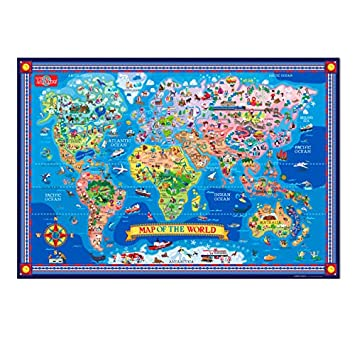 T.S. Shure Pictorial Map of The World – Laminated Poster with Interactive Stickers