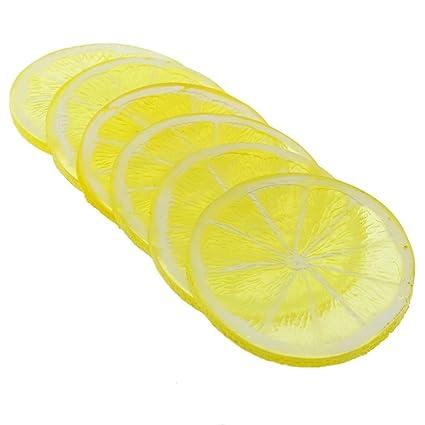 gresorth 6pcs highly simulation fake yellow lemon slice artificial fruit model home party decoration