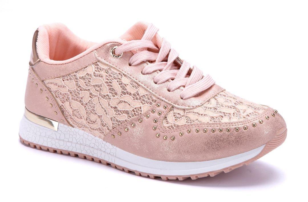 Schuhtempel24 Damen Schuhe Low Sneaker Flach Glitzer/Ziersteine Bronze