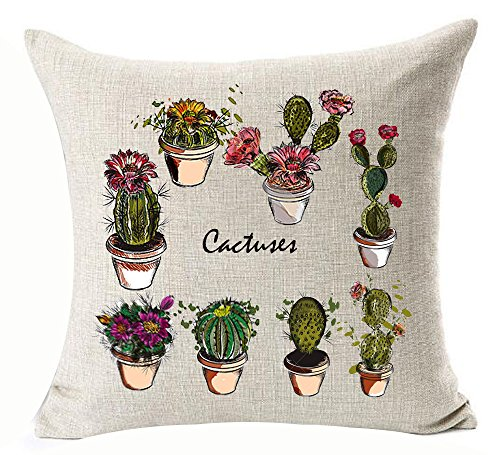 - Fresh And Colorful Hand-painted Various Beautiful Cactus Succulents Potted Plants Cotton Linen Throw Pillow Case Personalized Cushion Cover NEW Home Office Decorative Square 18 X 18 Inches