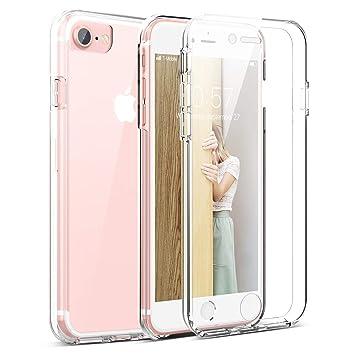 Winhoo Funda para iPhone 7 / iPhone 8 360 Grados Full Body de Protección Silicona TPU Carcasa con Protector de Pantalla Compatible con Carga ...