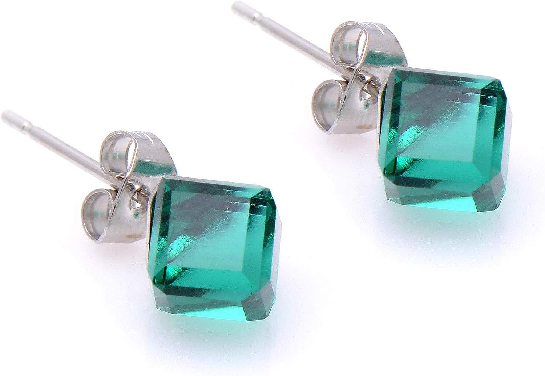 Paialco - Pendientes con forma de cubo de cristal y circonitas cúbicas de color verde oliva