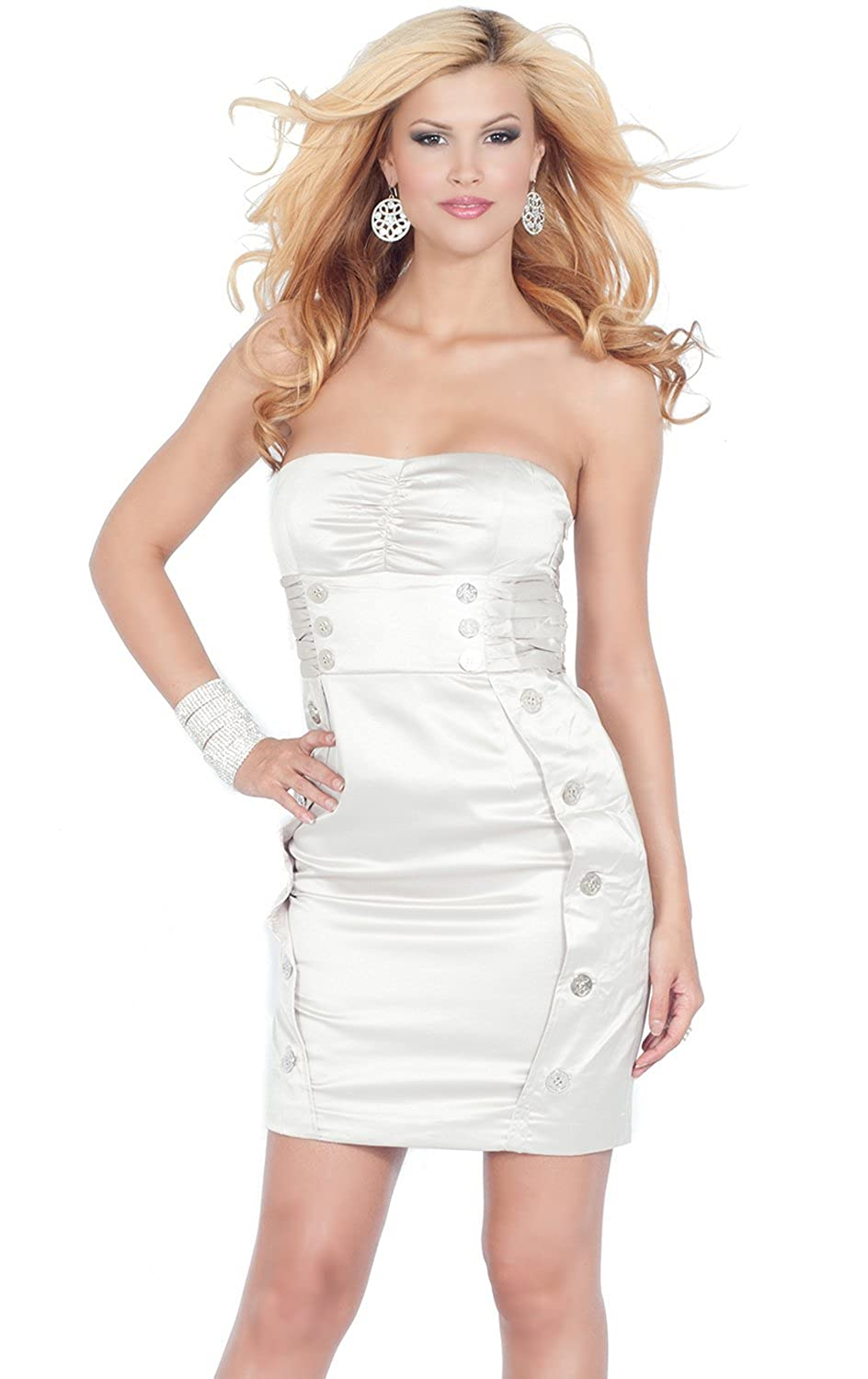 Strapless Bandeau Sweetheart Fitted Button Pencil Skirt Cocktail Dress S M L