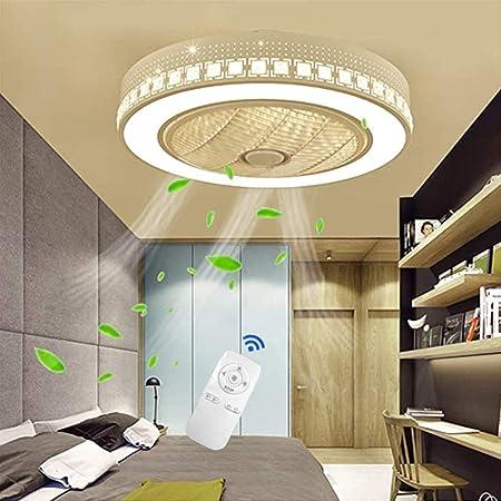 JINWELL Ventilateur silencieux du Nordique Moderne Minimaliste Ventilateur de Plafond Lustre Ventilateur LED Rond Gradation Ultra silencieux Économie