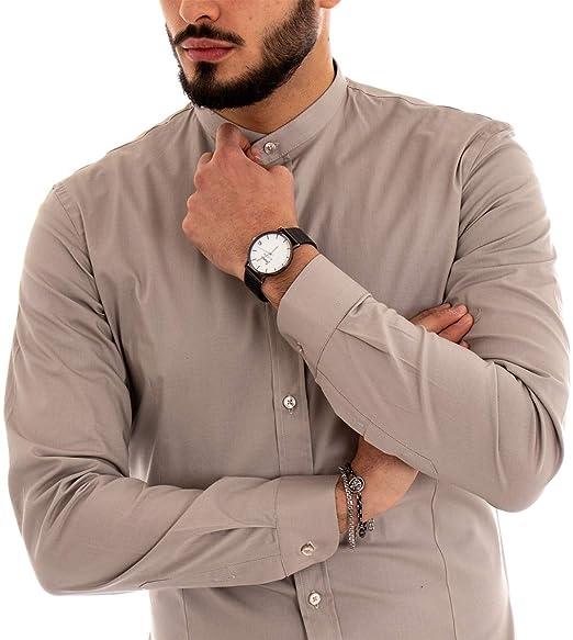 c43d0c942f Giosal Camicia Uomo Collo Coreano Tinta Unita Beige Slim Cotone Akirò Casual:  Amazon.it: Abbigliamento