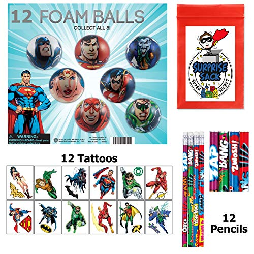 The Amazing DC Superhero Party Favor Pack (Foam Balls, Lg Tattoos & Pencils) -