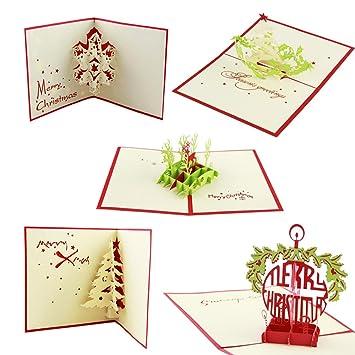 Amazon.com: salsell 3d tarjetas de Navidad Pop Up hecho a ...