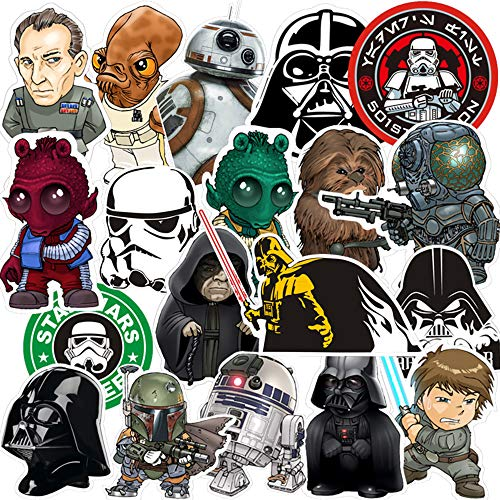 Star Wars Stickers Pack 35-Pcs,Sticker Decals Vinyls for Laptop,Kids,Cars,Motorcycle,Bicycle,Skateboard Luggage,Bumper Stickers Decals Bomb Waterproof(Random)