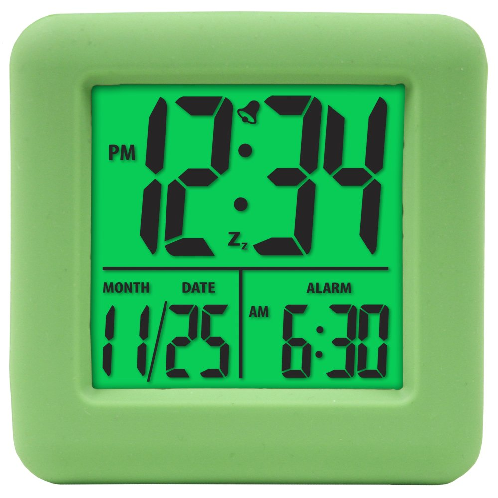 Equity by La Crosse 70903 Soft Green Cube LCD Alarm Clock