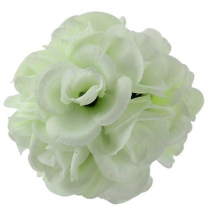 Merssavo Blanc Laiteux Soie Blanche Simulation Rose Feuille Fleur