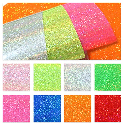 - David accessories Superfine Glitter Holographic Laser Transparent Faux Leather Sheet Synthetic Leather Fabric Flake 8 Pcs 8