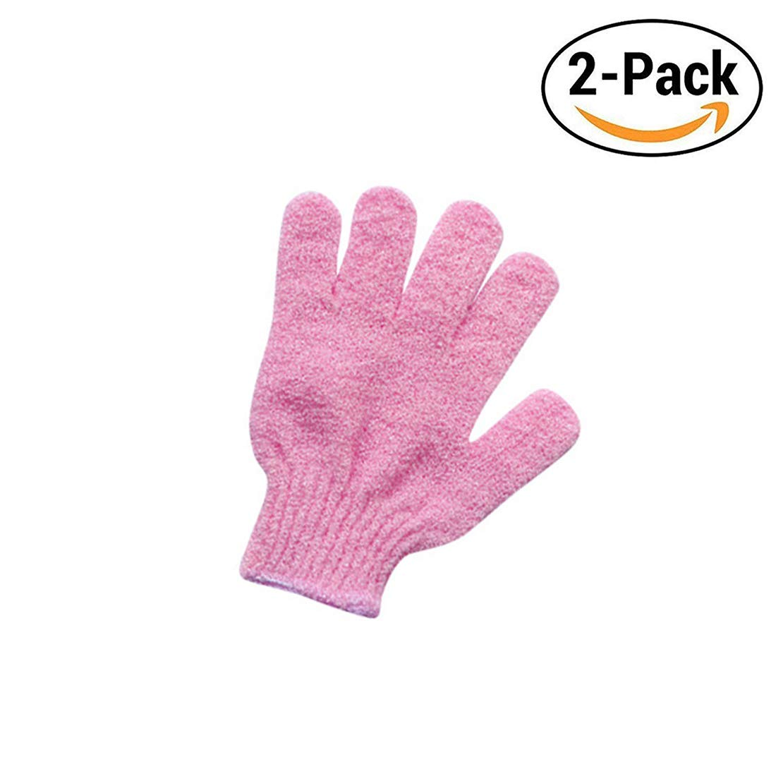 Exfoliating Bath Gloves of Shower Spa Body Scrub Bath Colorful For Soft Skin and Improves Blood Circulation (Pink) TianZhi