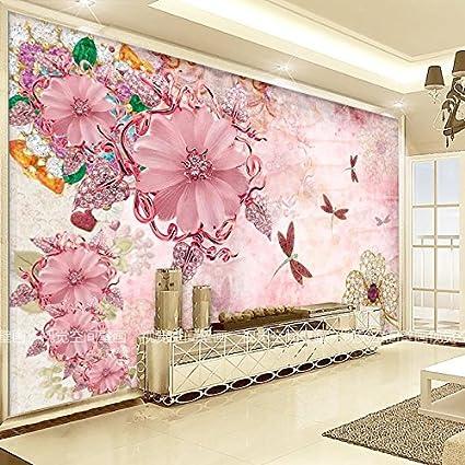 1a0712c7a02 HUANGYAHUI Murales 3D Murales De Flores Cálido Salón Tv Sofá Dormitorios  Papel Tapiz De Fondo De