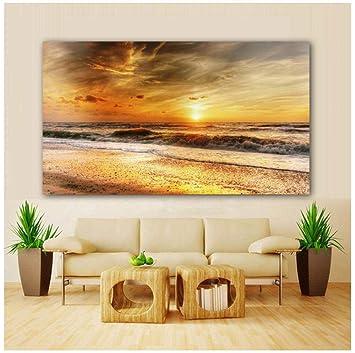 Wangchengp Playa y Puesta de Sol Nube Ola Paisaje impresión ...