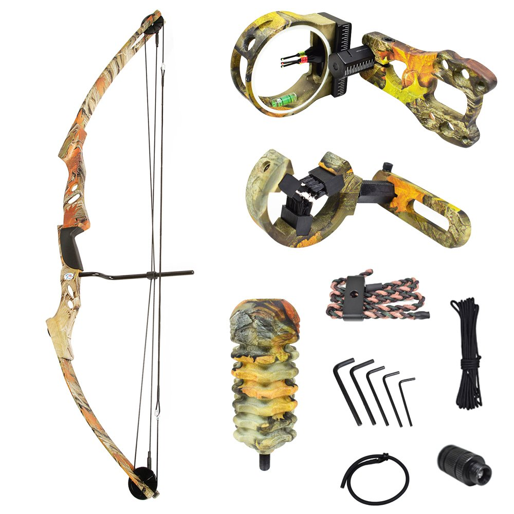 iGlow 55 lb Autumn Camouflage Camo Archery Hunting Compound Bow with Premium Kit 175 150 80 50 40 lbs Crossbow by iGlow