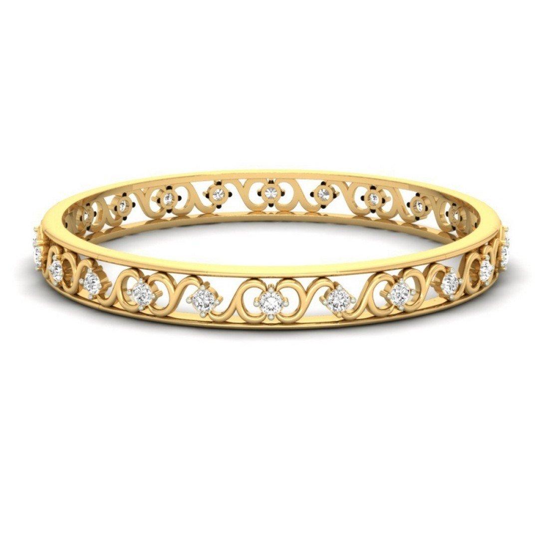 2 cttw Round-Cut-Diamond 7 inches 14K Yellow Gold IJ  SI HallMarked bangle-bracelets Size