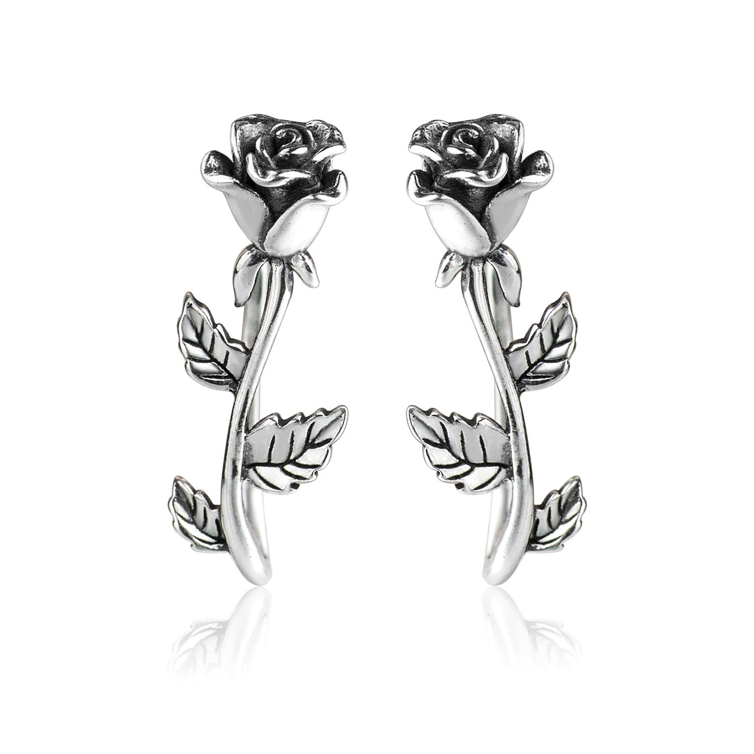 Wicary Rose Ear Crawler Cuff Earrings Sterling Silver Studs Ear Climber Hypoallergenic