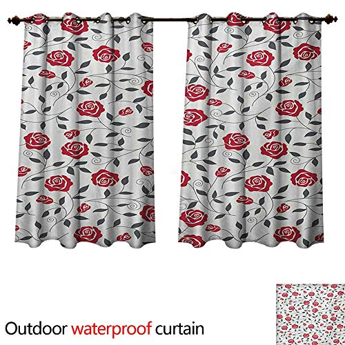 WilliamsDecor Rose Outdoor Curtain for Patio Abstract Silhouettes Stylized Gardening Bedding Plants Curly Stems Swirls Pattern W72 x L63(183cm x 160cm)