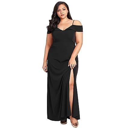 LF DD Vestidos de las mujeres más tamaño de color puro con cuello en v bifurcación