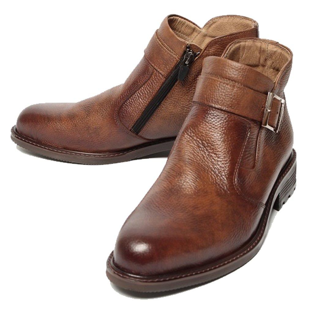 Epicsnob Mens Shoes Brown Leather Korea Dress Formal Chelsea Buckle Ankle Boots 9 M US