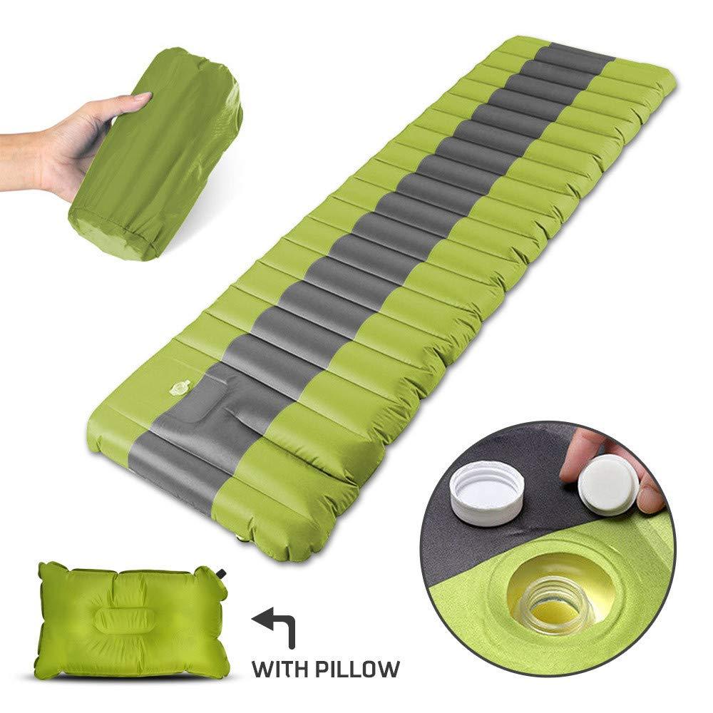 Grün GUIHE Aufblasbare Schlafmatte mit Campingattress mit Kissen, Wasserdicht und Feuchtigkeit, die Sich durch das Falten von Single Bed Portable Air Pad abflacht,Grün