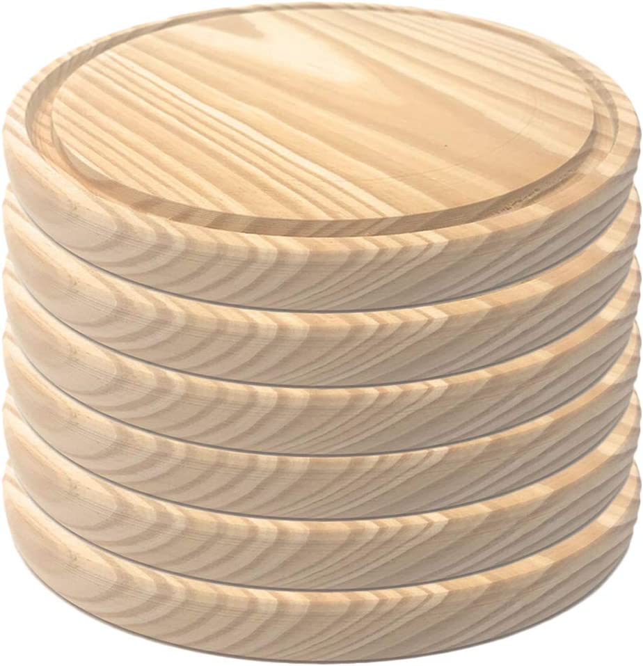 Round Pizza Plate MGE Made in Spain Pack of 6-28 cm Round Pizza Tray Wooden Plates