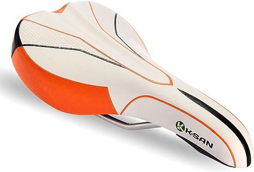 Sillín Asiento EVA Metal Blanco Naranja para Bicicleta Carretera ...