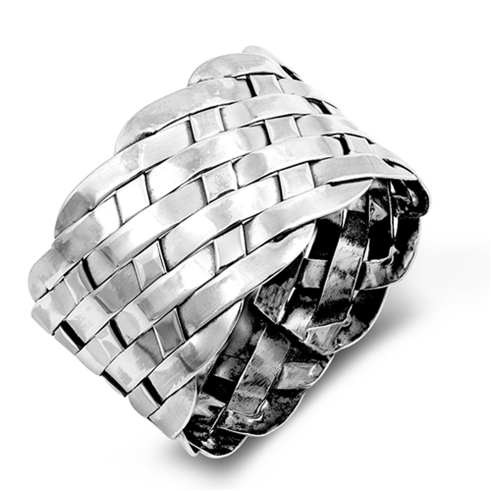 Wide Weave Basket Knot Cocktail Mesh Ring .925 Sterling Silver Band Size 8