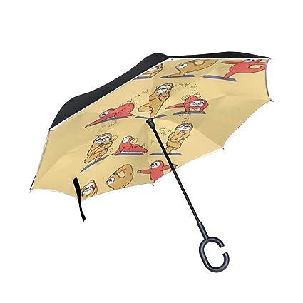 955dac43ecb3 Amazon.com : WBKCQB Sloth Yoga Cars Reverse Open Folding Umbrellas ...