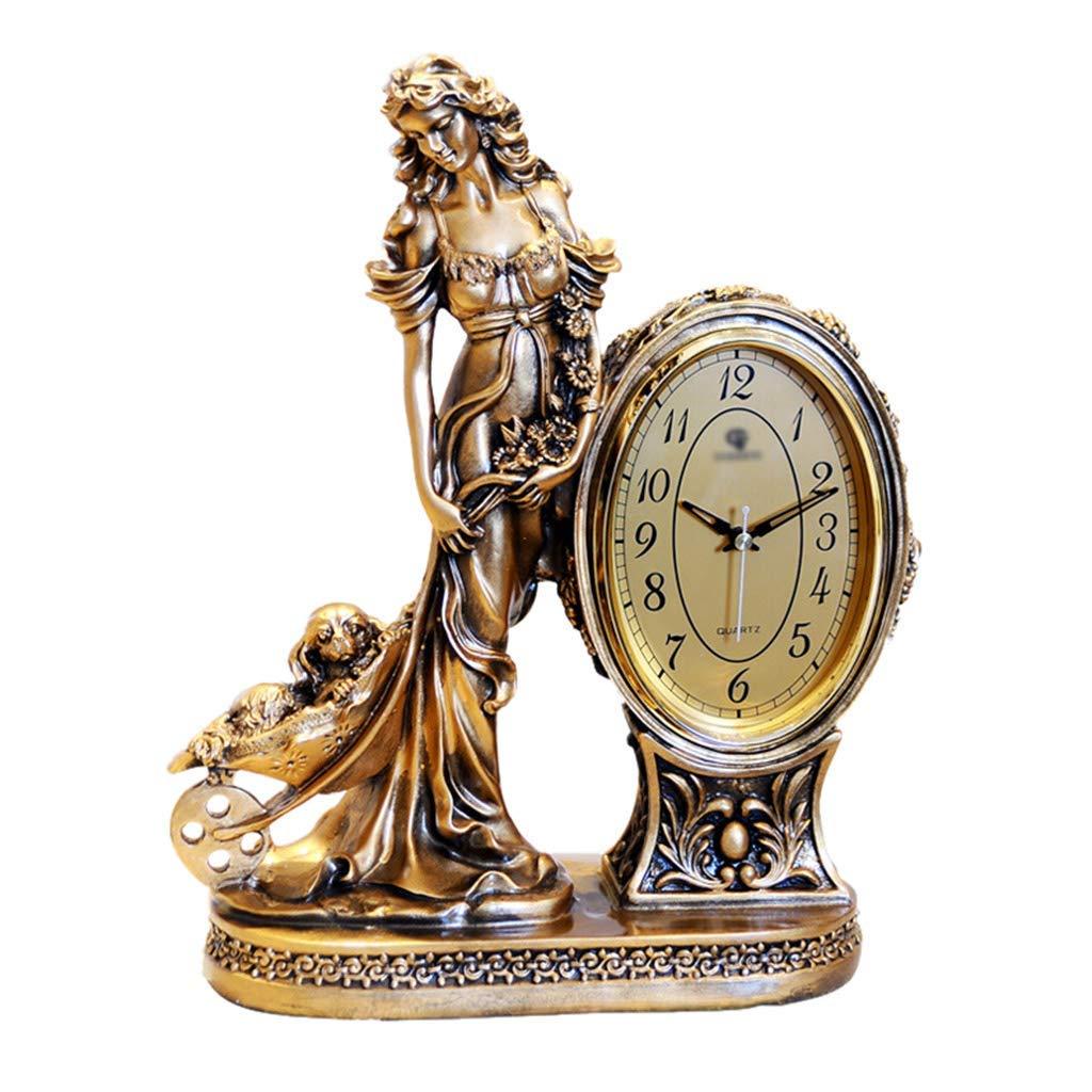 デスククロックファミリークロックヨーロピアンスタイルの置時計、レトロな装飾なしリビングルームのベッドルームデスクの女神リビングルームのベッドルームに最適 B07THHCJLF