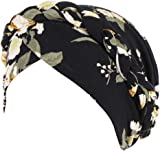 Muslim Turban Caps for Women,Colorful Floral Printed One Plait Elegant Stretch Turban Head Wrap for Cancer Chemo