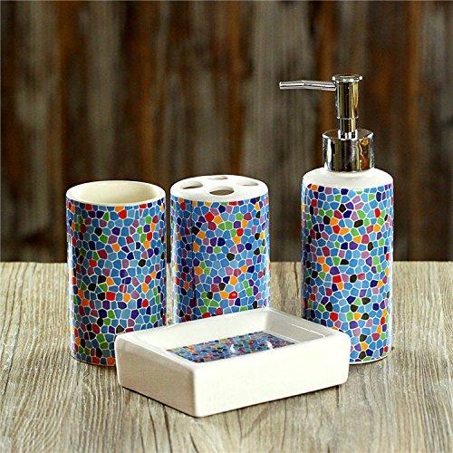 4 Piece Bath Ensemble, Bath Set Collection Features Soap Dispenser Pump, Toothbrush Holder, Tumbler, Soap Dish Bathroom Accessories Sets - Colorful Mosaic Tile Pattern - Valsan Tumbler Holder